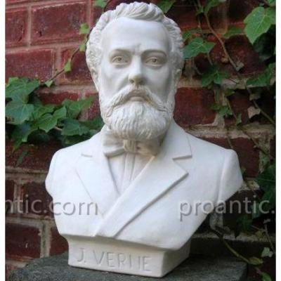Jules Verne White Marble Bust, Nantes Amiens