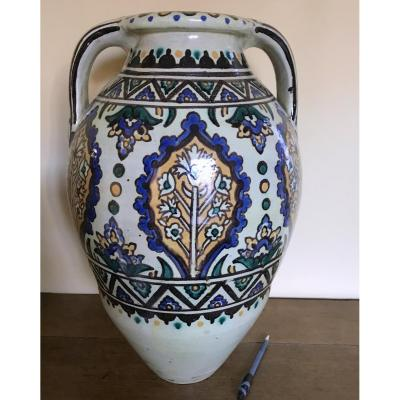 Grand Vase Tunisia Workshops Verclos Nabeul, Rich Polychrome Decor Early Twentieth