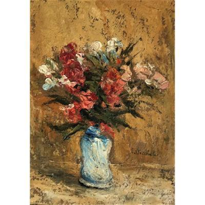 Fleurs dans un vase, huile sur panneau de E Viallate XXème