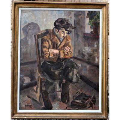 Hanne Tartter 1937 : adolescent assis, grande huile sur toile