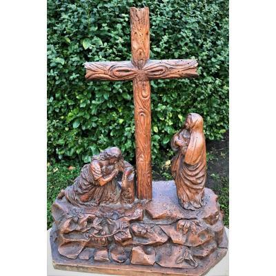 Calvaire En Bois Sculpté Début XIXème Siècle
