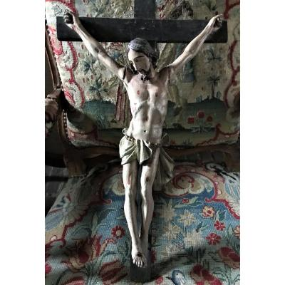 Large Christ In Polychrome Carved Wood Eighteenth