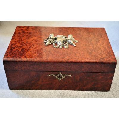 Large Box In Amboyna Burl And Napoleon III Bronze Cherubs