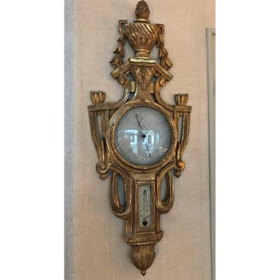 Louis XVI Period Carved And Gilded Wood Thermometer Barometer