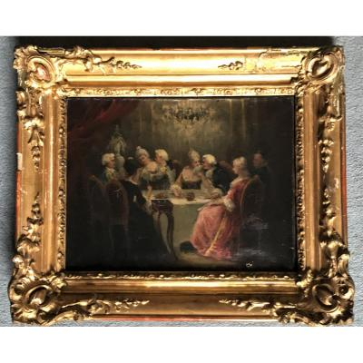 "Rosalbin De Buncey  ""the King's Supper"" Gallant Scene Under Louis XV"