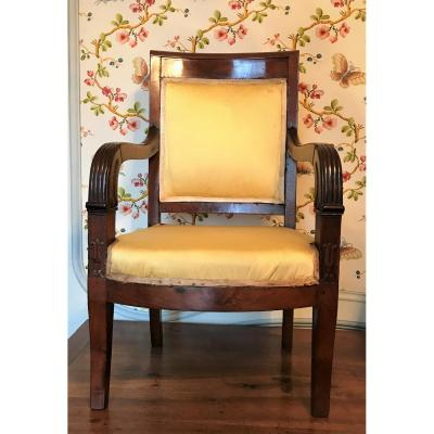 Empire Period Children's Armchair In 19th Century Mahogany