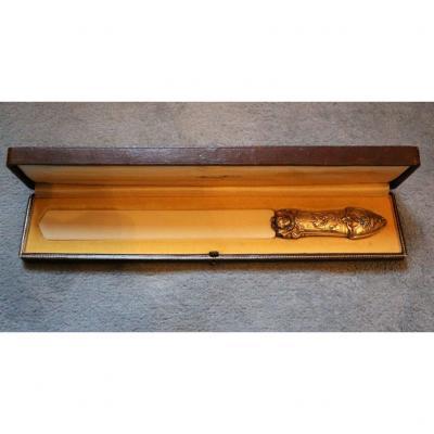 coupe papier en ivoire et métal doré Napoléon III