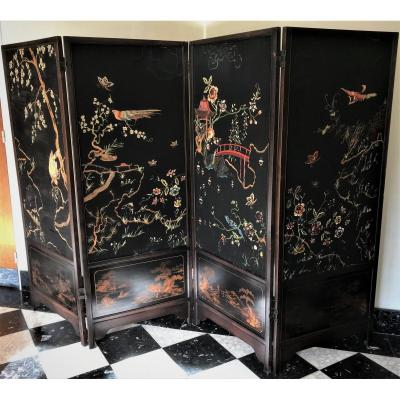 High Screen With 4 Leaves China 20th Century