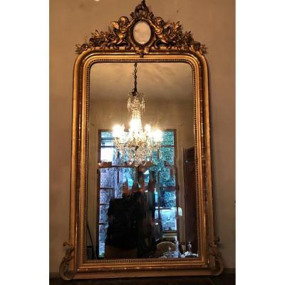 Miroir doré Napoléon III aux deux angelots-putti