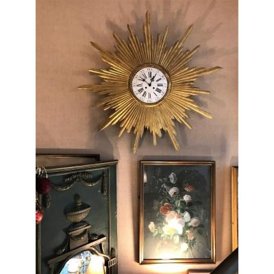 Large Radiant Sun And Witch Mirror Pendulum In Gilded Wood XIXth Century