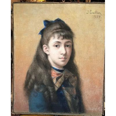 Portrait Of A Young Girl With A Scottish Lavallière, Pastel On Canvas Carillon XIXth