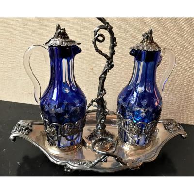 Huilier-vinaigrier en argent décor de vigne de style Louis XV Napoléon III cristallerie overlay