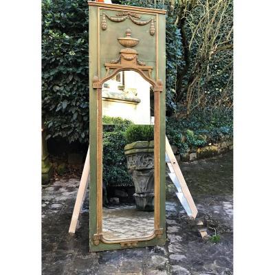 Trumeau de boiserie Louis XVI bois patiné vert et doré