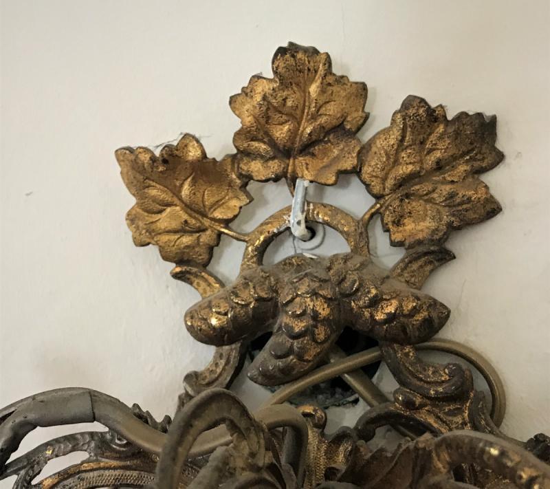 Napoleon III Three-branched Bronze Wall Lamp-photo-4