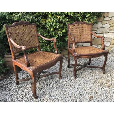 Pair Of Caned Armchairs With Spacers From The Regency Period To Restore