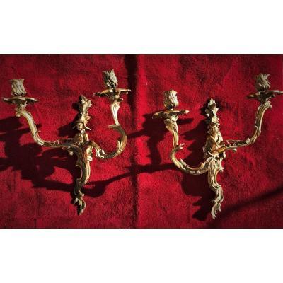 Paire d'appliques « aux chinois » en bronze doré Louis XV