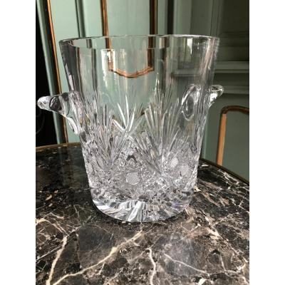 Grand seau à glace en cristal taillé Baccarat Saint Louis