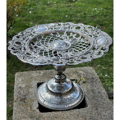 Coupe décorative en argent massif repoussé et ajouré XIXème siècle Napoléon III