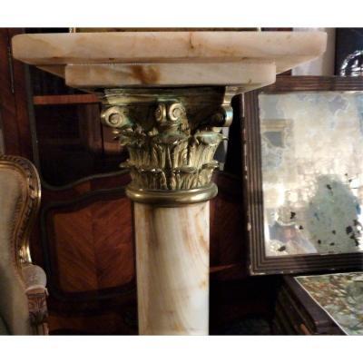 Colonne tournante en onyx et bronze Napoléon III (acc) XIXème