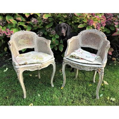 Pair Of Children's Or Musician's Armchairs, Louis XV Period