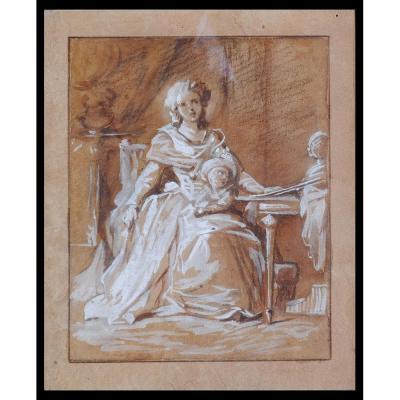 """J.L.MOSNIER (Attrib.) """"Portrait d'une mère avec son enfant"""""""