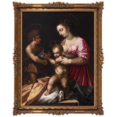 GAMBERUCCI,  attrib., MADONNA ET L'ENFANT AVEC SAINT JEAN