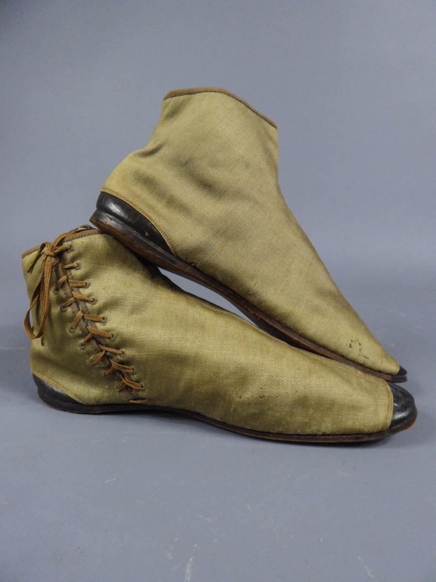 Pair Of Louis Philippe Boots In Casimir And Leather Circa 1840