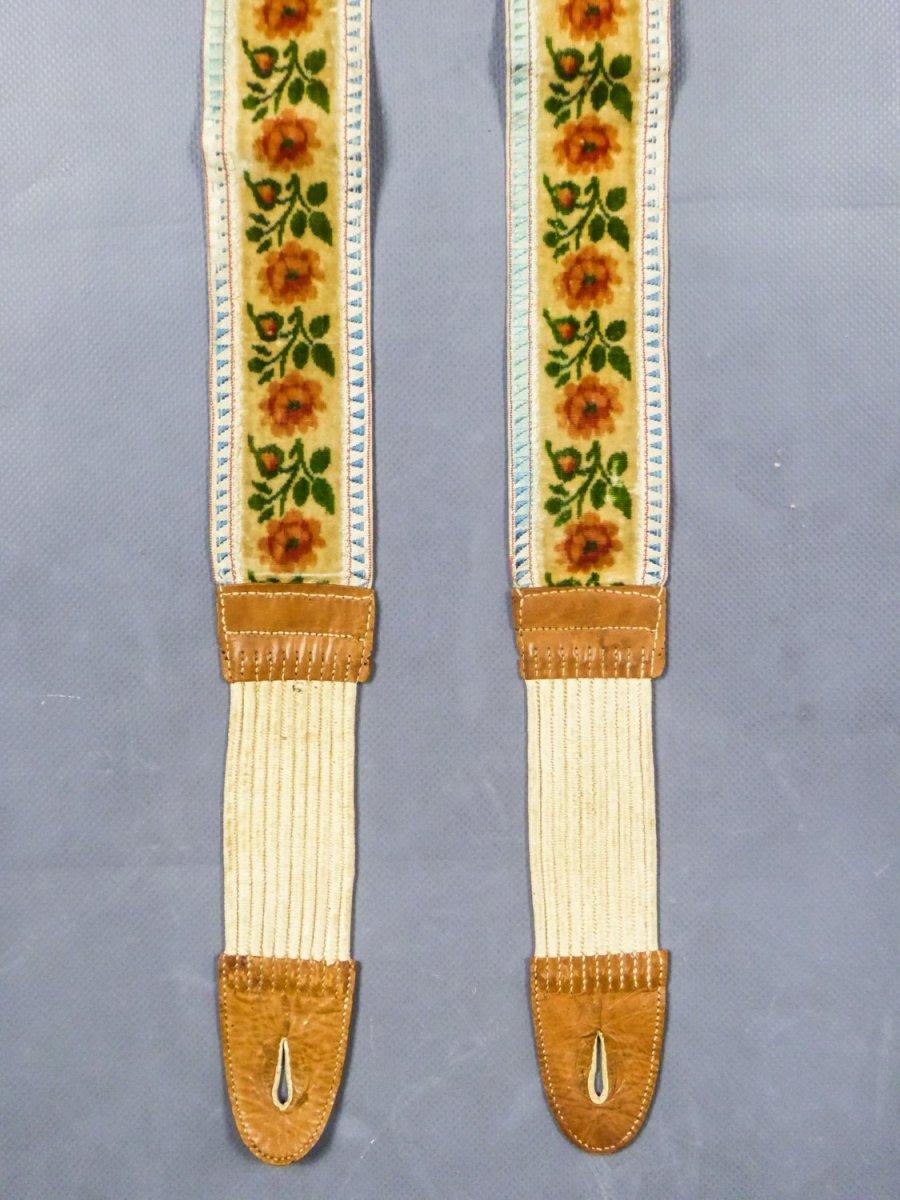 Paire De Bretelles En Velours Taffetas Et Cuir Circa 1840/1860