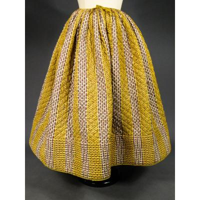 Pique Or Cotillon Skirt In Indian Broken Stick - Provence Circa 1860