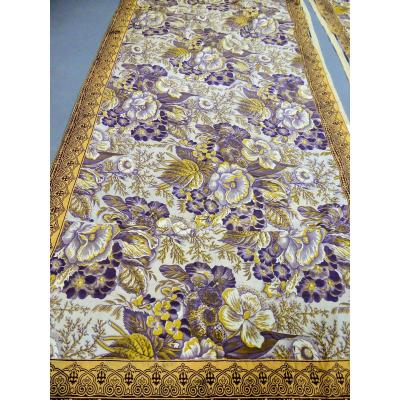 Alsace Printed Canvas - Full Duchess Bed Quilt Slope And Sky Circa 1830