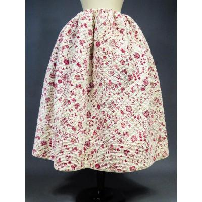 Quilted Skirt With Provence Gardener Decor Early 19th Century