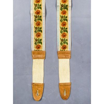 Pair Of Suspenders In Velvet, Taffeta And Leather Circa 1840/1860