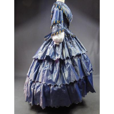 Day Dress With Large Crinoline In Changing Taffeta With Provenance Circa 1855.