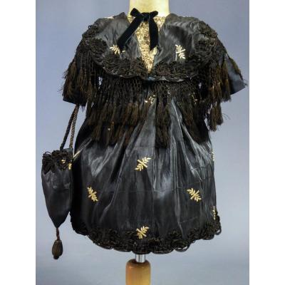 Napoleon III Doll Or Girl Dress In Embroidered Moire