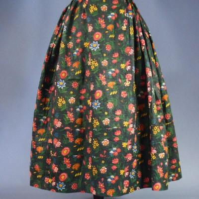 Skirt In Chintz Bonne Herbes Jouy Or Alsace For Provence Circa 1800/1850
