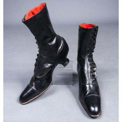 Pair Of Leather City Boots - Belle Epoque Circa 1895