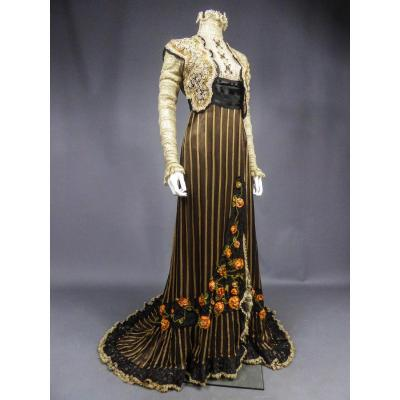 Reception Dress With Train In Crest Of Silk And Lace - Belle Epoque Circa 1905