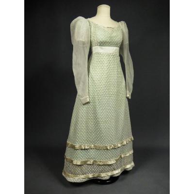 Day Dress In White Embroidery - France Louis XVIII Period Circa 1815-1820