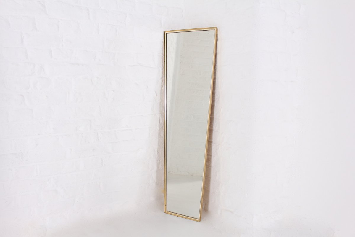 Large Wall Mirror In Brass 1960s