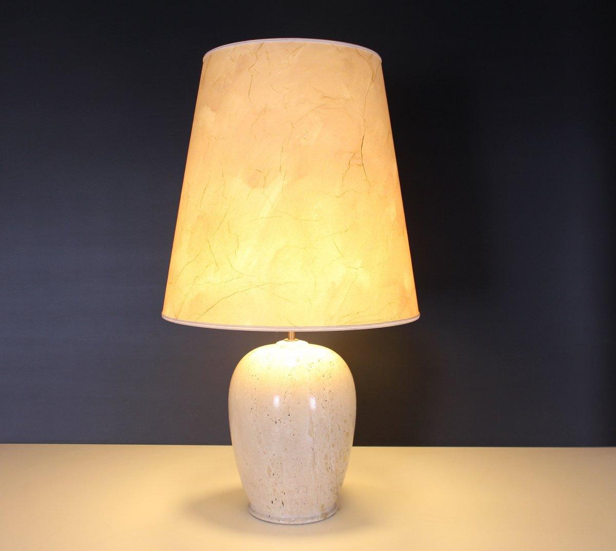Travertine Lamp, 1970's-photo-3