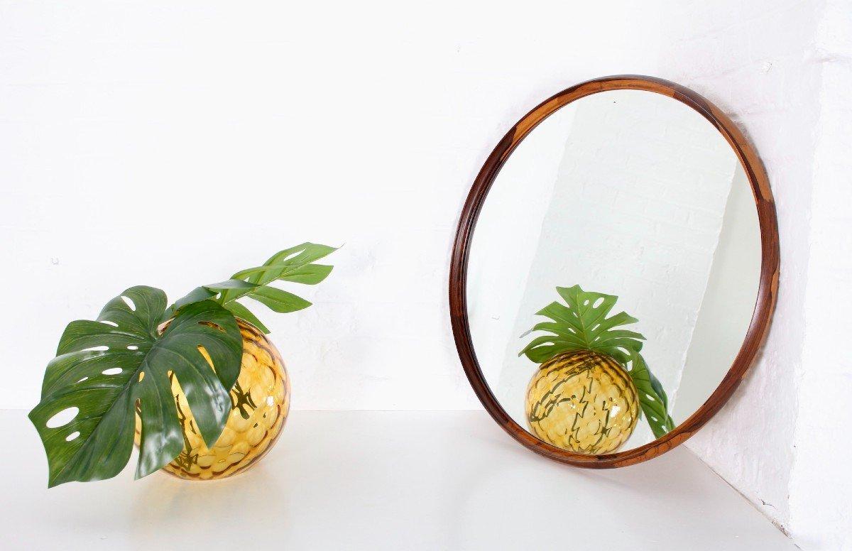 Grand Miroir Circulaire En Palissandre De Rio.-photo-1