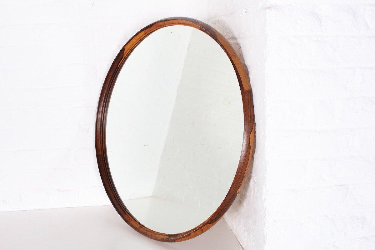 Grand Miroir Circulaire En Palissandre De Rio.