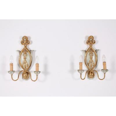 Pair Of Wall Lights In Golden Wood Louis XVI Style