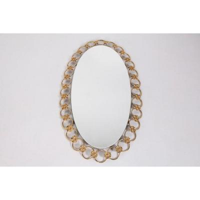 Hollywood Regency Golden Oval Mirror