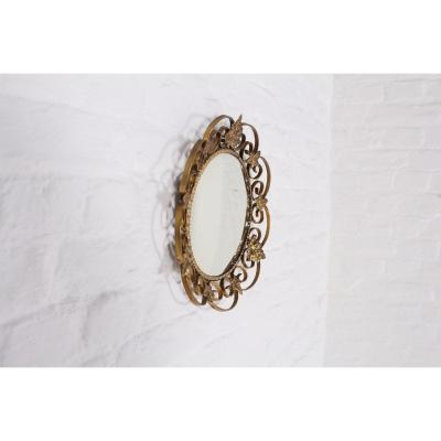 Sun Mirror In Brass.