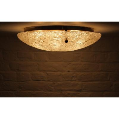 Blown Glass And Brass Ceiling Lamp.