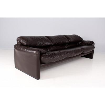 Maralunga Sofa In Brown Leather, Cassina