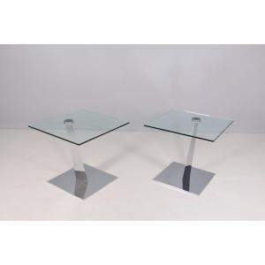 Ends Of Sofa In Glass And Chrome, Naos Italy.