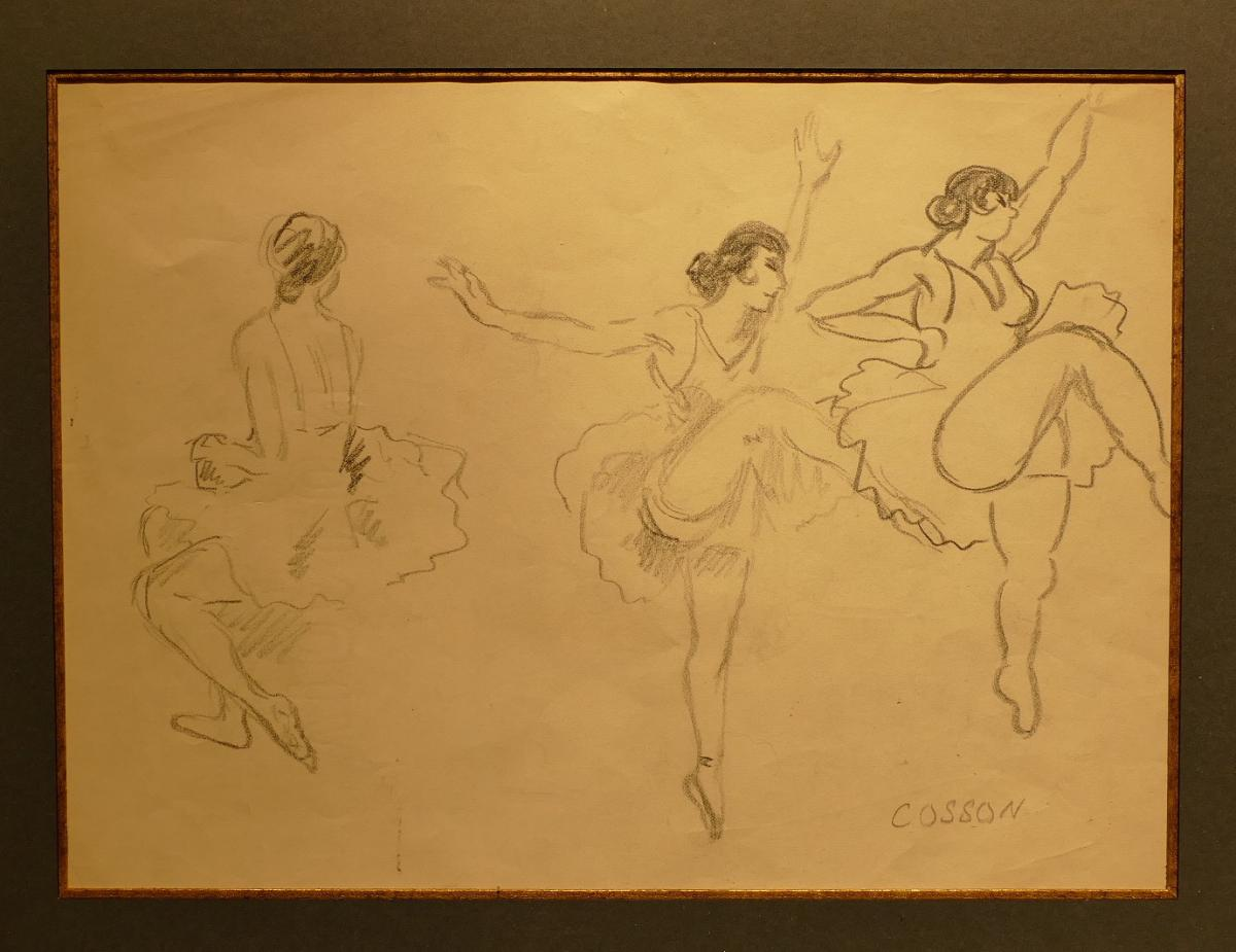 Cosson Marcel Drawing Signed Early 20th Century Dancers In Repetition