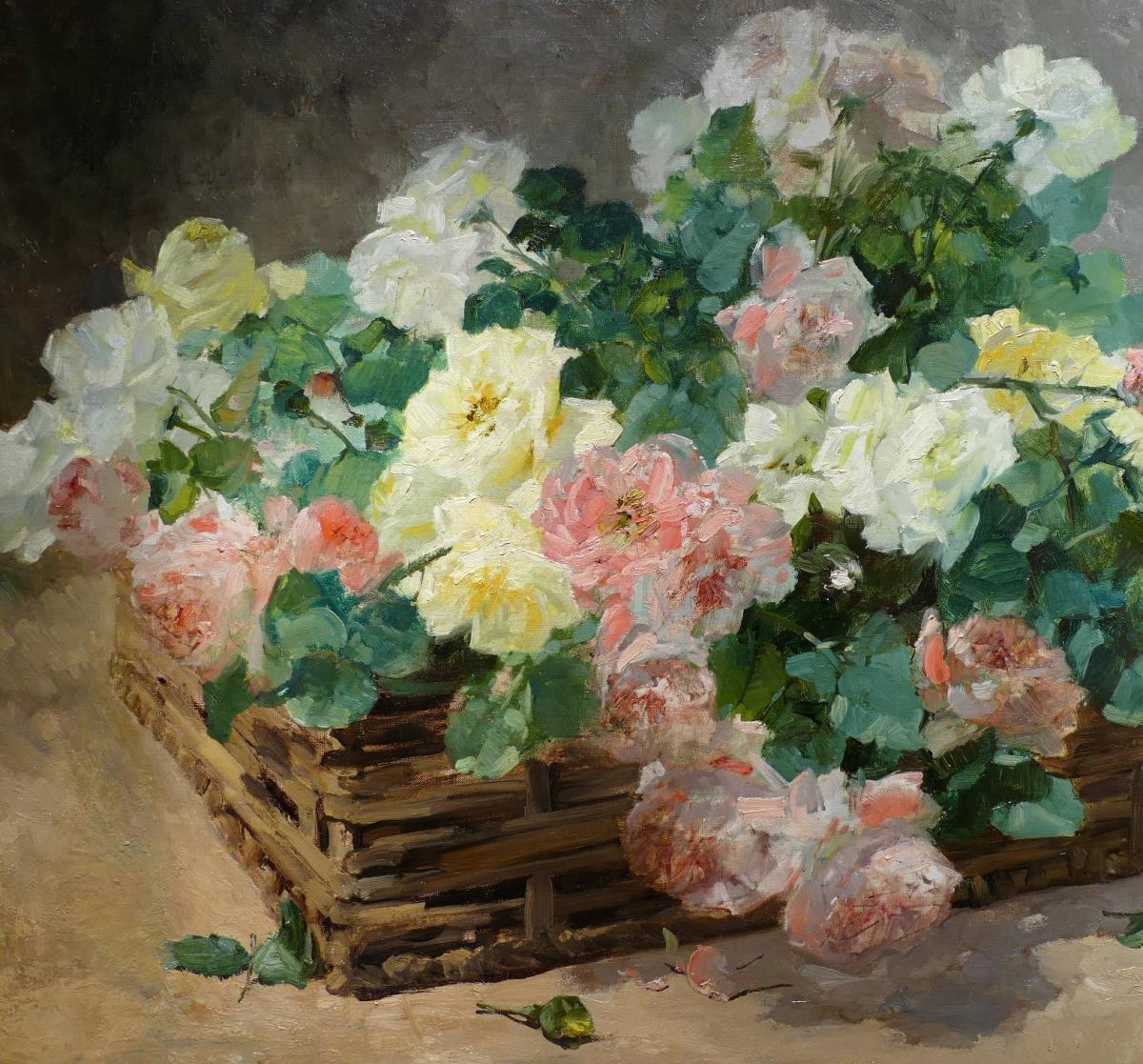 Jeannin Georges French Painting 19th Century Basket Of Roses Oil On Canvas Signed-photo-3